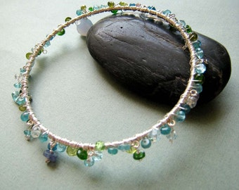 COUTURE Maia - apatite, blue topaz, peridot, aquamarine, chalcedony, swarovski and sterling silver bangle bracelet