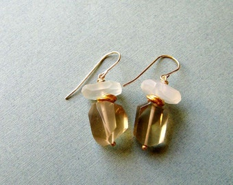 Moscato - champagne citrine, moonstone, vermeil and goldfilled earrings