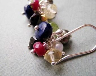 Bejeweled earrings - ruby, lapis, gemstones & sterling silver
