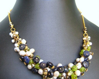 COUTURE Calypso necklace - spectrolite, gemstones & goldfilled