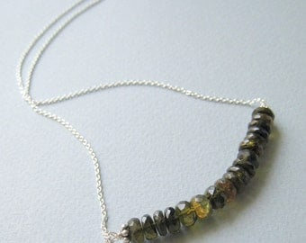 Spruce necklace - green tourmaline & sterling silver
