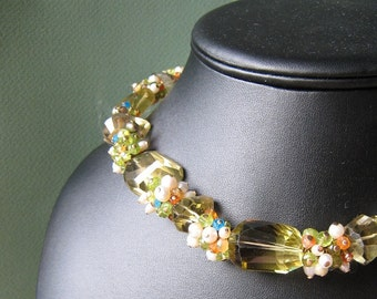 COUTURE Bellini necklace - whiskey quartz, gemstones & vermeil
