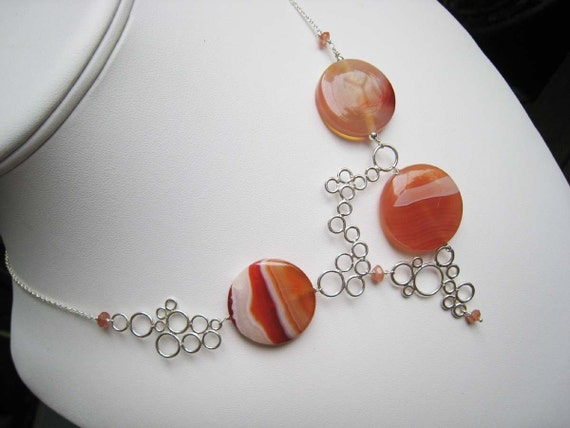 Orangina Bubbles - sunstone, sardonyx agate coins and sterling silver necklace
