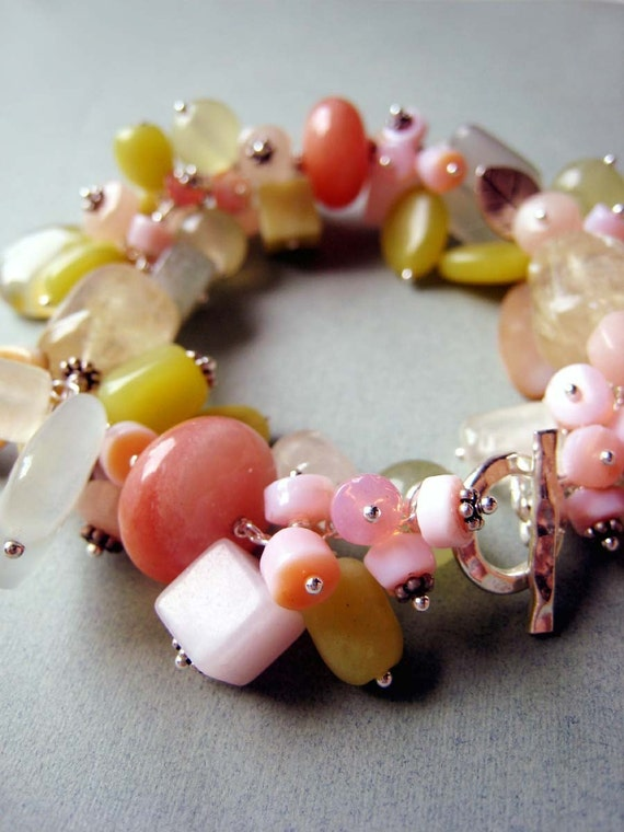 COUTURE Citrus Paradisi bracelet - yellow turquoise, jade, mother of pearl, pink opal, aventurine, calcite and sterling silver