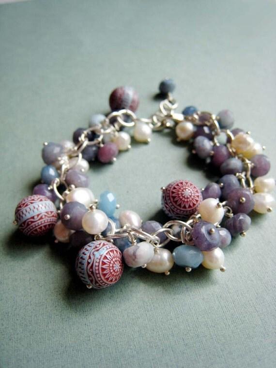 Cerulean Splash - violet candy jade, natural pearls, vintage lucite beads and sterling silver bracelet