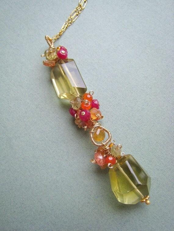 Oro Verde necklace - oro verde quartz, tourmaline, ruby, garnet & 14k goldfilled