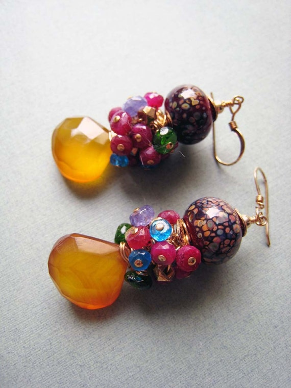 COUTURE Bora Bora - chalcedony, ruby, apatite, tanzanite, chrome diopside, boro lampwork, vermeil and goldfilled earrings