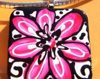 Shades of PINK ART Pendant Hand Painted Wearable Art