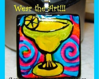Margarita PENDANT jewelry Wearable Art Hand PaintedWhimsical Fun party