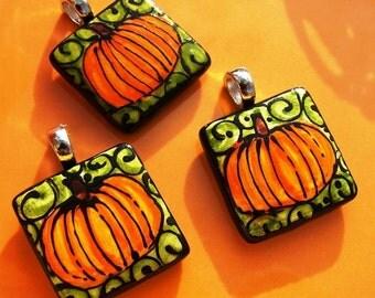 Pumpkin Pendant Wear the ART  Ceramic Hand painted Bead Whimsical NEW