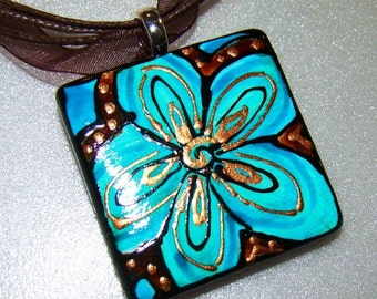 Pendant Hand Painted ceramic bead flower Chocolate and Turquoise FLOWER POWER