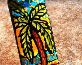 Palm Tree Jewelry Beach tHeMe Pendant Hand Painted WEARABLE Art  custom made