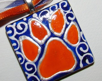 Auburn Tiger Jewelry pendant Inspired  Hand Painted  Ceramic---Pendant Paw --- War Eagle