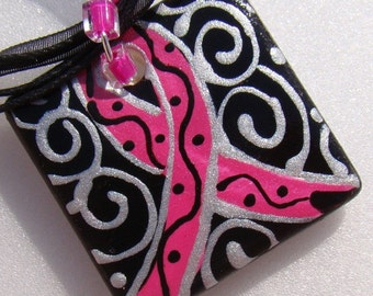 Pink Ribbon Jewelry Breast Cancer Awareness --------Donation made from Purchase  ------ Custom handpainted Pendant