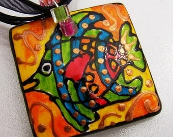 Fish Ceramic Jewelry Beach art  Hand Painted  pendant