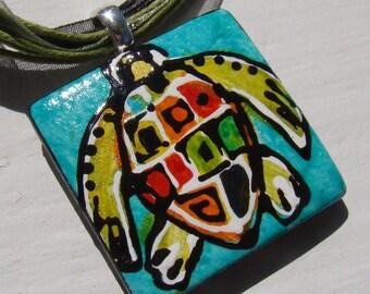Rainbow Sea Turtle necklace pendant Handpainted Bead original Art
