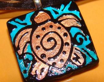 Sea Turtle necklace pendant Handpainted Bead Art