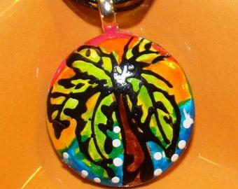 Palm Tree Necklace Pendant Hand Painted Art Jewelry CUSTOM MADE