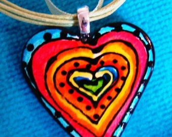 Rainbow Heart jewelry Pendant Handpainted ceramic necklace