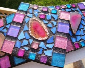 Mosaic COASTERS Agate Rich colors metallic italian glass tile handmade Custom made