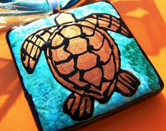 Sea Turtle necklace pendant Handpainted Bead Art