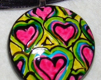 Heart jewelry Pendant Handpainted Bead necklace