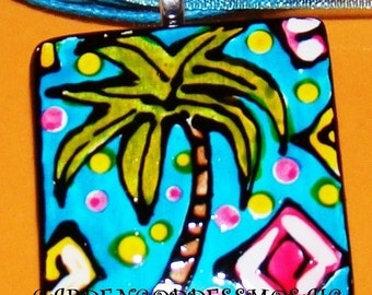 Palm Tree Jewelry Pendant Hand Painted Wearable art
