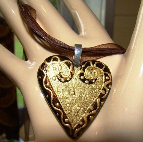 Chocolate HEART -- Ceramic -- PENDANT  metallic  Handpainted YUmmy rich colors