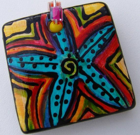 STAR FISH  ART Pendant Hand Painted Jewelry