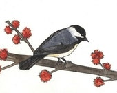 Chickadee original watercolor painting