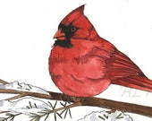 Cardinal original 5x7 watercolor painting