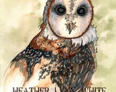 barn owl 7x10 print (with border and croppable areas)