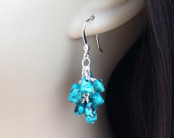 Turquoise Dangle Earrings. Turquoise Bridesmaid Earrings. Pebble Earrings. Turquoise Cluster. Sterling Silver Earrings