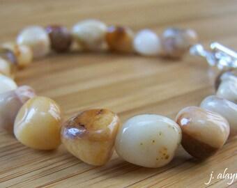 Yellow Jade Bracelet. Yellow Jasper. Pebble Bracelet. Amber Bracelet. Yellow Stone Bracelet