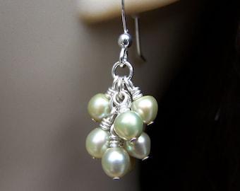 Freshwater Pearl Earrings. Cluster Earrings. Pearl Earrings. Green Pearl Earrings. Bridesmaid Earrings