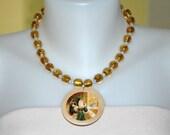Gold Foil Bead Santa Necklace