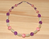 Pink and Purple Vintage Bead Necklace