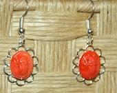 Orange Scarab Earrings