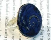 Cobalt Blue Swirl Ceramic Ring Adjustable