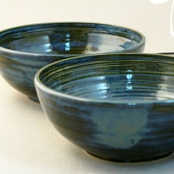 Stacking  Pottery Serving  Bowls in blue
