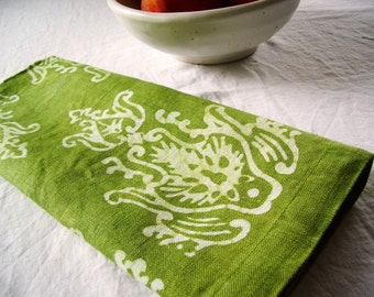 linen tea towel. pale olive finials