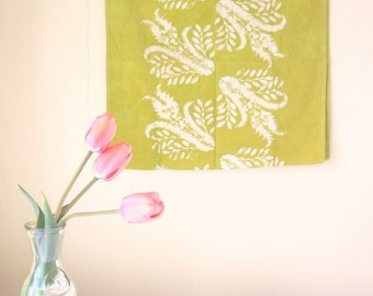 chartreuse green thistles tea towel
