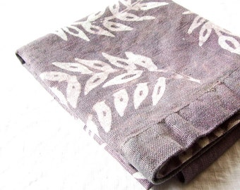 pure linen towel. wheat pattern in warm gray