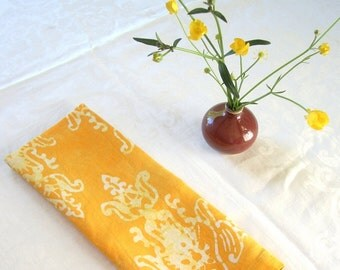 bright yellow finials linen towel