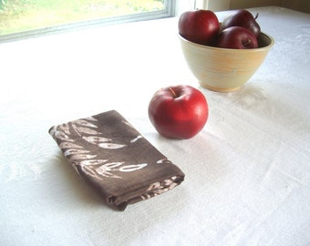 linen tea towel. chocolate brown wheat