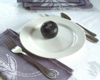 pair of two napkins. muted black plum purple