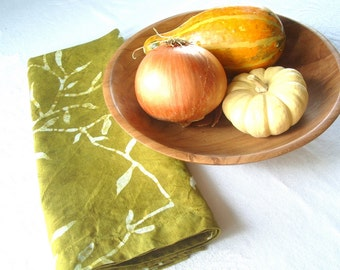 olive green linen tea towel. hand printed hot wax batik