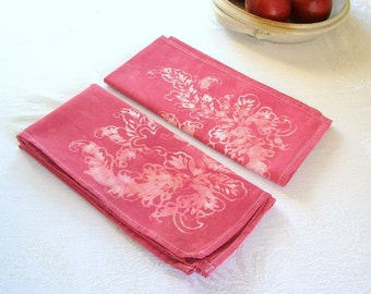rose red dinner napkins. set of two