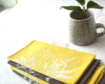 batik napkins. chartreuse and gray