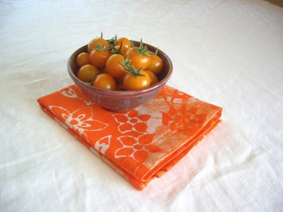 bright orange linen tea towel